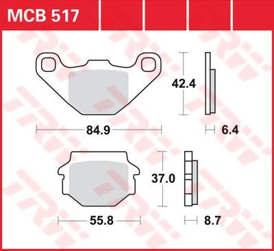 Bremsbelag TRW hinten  E-Ton VTX 300 Vortex  06-   MCB517