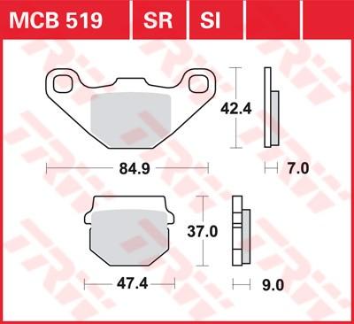 Bremsbelag TRW vorne Italjet   100 Millenium 2T   FC 01-  MCB519EC