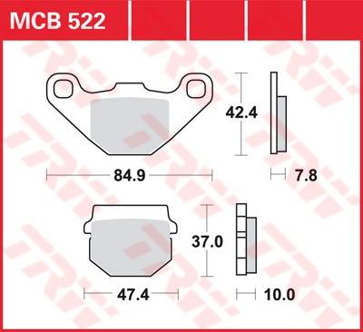Bremsbelag TRW vorne Simson   100 Sula Thunder Bird     98-  MCB522